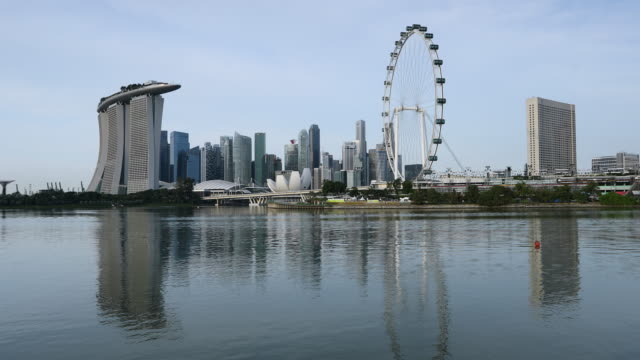 marina bay sands hotel and singapore flyer, singapore, southeast asia, asia - singapore flyer stock videos and b-roll footage