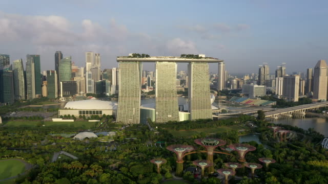 marina bay sands hotel and supertree grove of gardens by the bay and downtown area / downtown core, singapore - landscaped stock videos & royalty-free footage