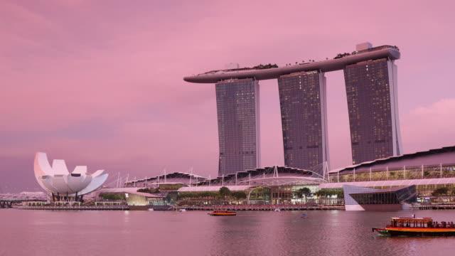 marina bay sands hotel, singapore, southeast asia, asia - marina bay singapore stock videos and b-roll footage