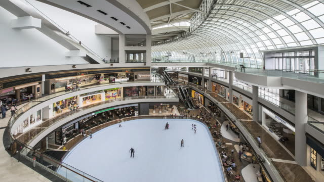 ws t/l marina bay sands, shopping complex and shopping centre interior / singapore - marina bay sands stock videos and b-roll footage