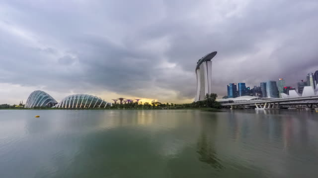 marina bay skyline, singapore - marina bay singapore stock videos and b-roll footage