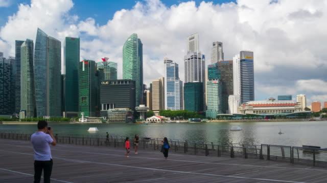 marina bay skyline, singapore - singapore flyer stock videos and b-roll footage