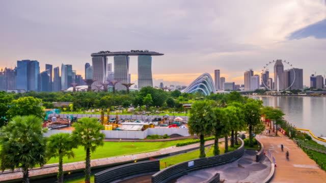marina bay skyline, singapore - marina bay sands stock videos and b-roll footage