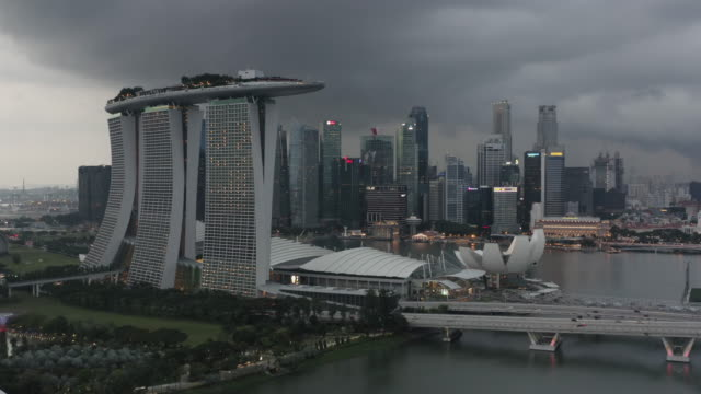 marina bay storm with lightning - singapore stock videos & royalty-free footage