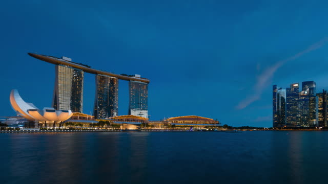 marina bay urban skyline day to night transition in singapore - singapore stock videos & royalty-free footage