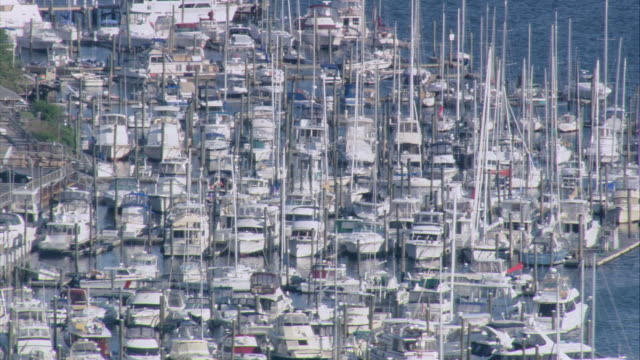 aerial marina congested with moored sailboats including adjacent cove dotted with sailboats / east greenwich, rhode island, united states - nightdress stock videos & royalty-free footage
