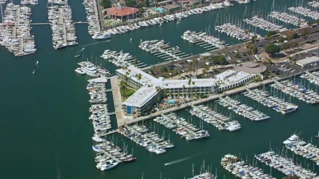aerial marina del rey hotel in marina del rey, california - marina stock videos & royalty-free footage