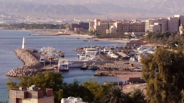 marina in aqaba seen from above. - gulf of aqaba stock videos & royalty-free footage