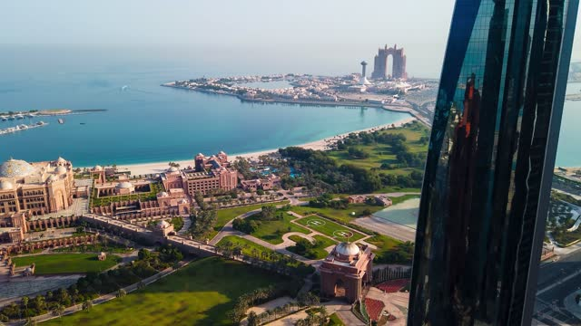 marina island and emirates palace in abu dhabi top view with the city downtown in the uae capital - palace stock videos & royalty-free footage