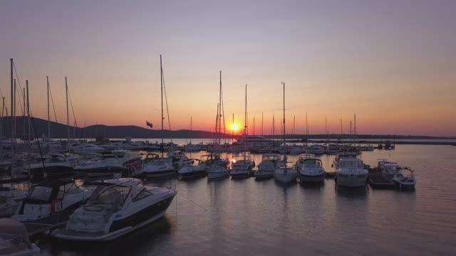 Marina on sunset,4k drone video