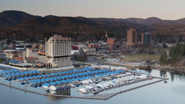 marina, park and cityscape of coeur d'alene - aerial view - idaho stock videos & royalty-free footage