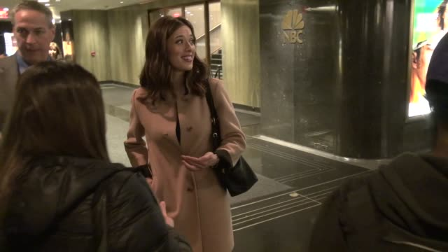 marina squerciati promoting nbc's 'chicago pd' leaving the 'new york live' show poses for photos with fans in the lobby of nbc studios in rockefeller... - nbcuniversal video stock e b–roll