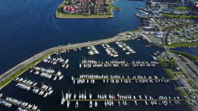marina with boats and yachts seen from above - harbor stock videos & royalty-free footage