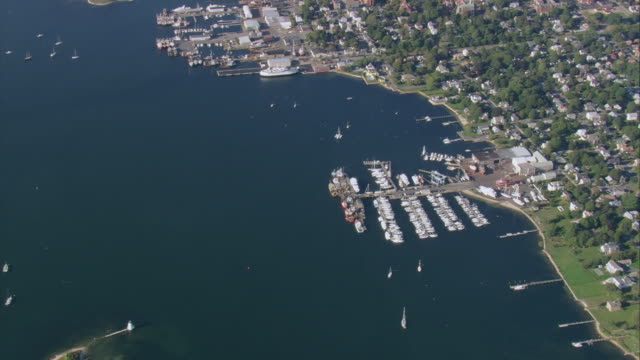 aerial marina with docked boats / new bedford, massachusetts, united states - new bedford stock videos & royalty-free footage
