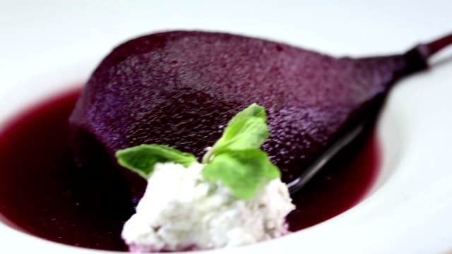 marinated poached pear dessert - marinated stock videos & royalty-free footage