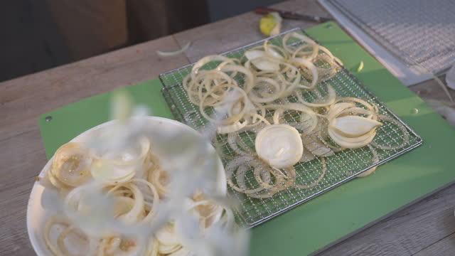marinating raw sliced onion - annick vanderschelden stock videos & royalty-free footage