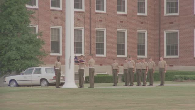 marine base; marines raise flag - military training stock videos & royalty-free footage