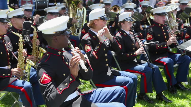 marine corp band on memorial day - uniform stock videos & royalty-free footage