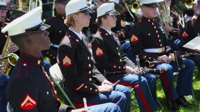 marine corp band on memorial day - marines stock videos & royalty-free footage