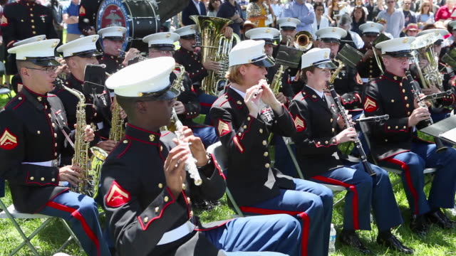 marine corp band on memorial day - us memorial day stock videos & royalty-free footage