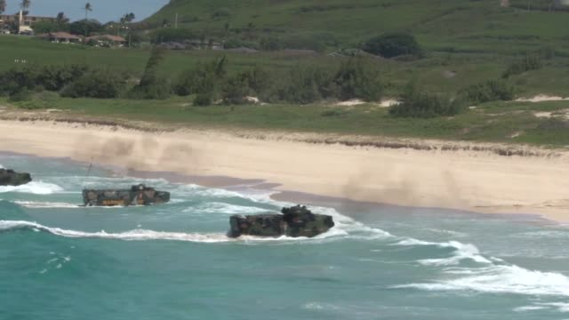 us marine corps and japan ground selfdefense force service members conduct amphibious training during rim of the pacific exercise 2014 - japan ground self defense force stock videos and b-roll footage