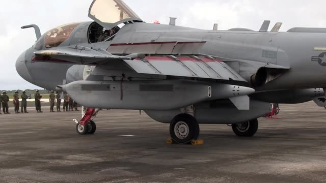 marine corps brig. gen. steven r. rudder, 1st marine aircraft wing commanding general, takes off from andersen afb, guam, in an ea-6b prowler,... - guam stock videos & royalty-free footage
