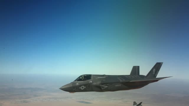a us marine corps f35b lightning ii assigned to marine aviation weapons and tactics squadron one prepares to land after a tactical intercept/air... - intercepting stock videos and b-roll footage