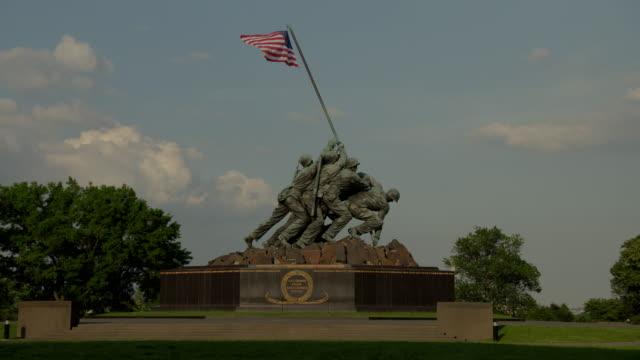 us marine corps war memorial - battle of iwo jima stock videos & royalty-free footage