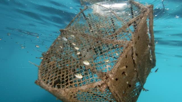 vídeos de stock e filmes b-roll de marine debris ghost net pollution from commercial fishing industry trawler lost at sea - rede de pesca objeto manufaturado