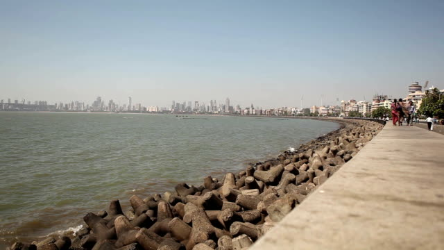 marine drive and chowpatty beach in mumbai - tourist stock videos & royalty-free footage