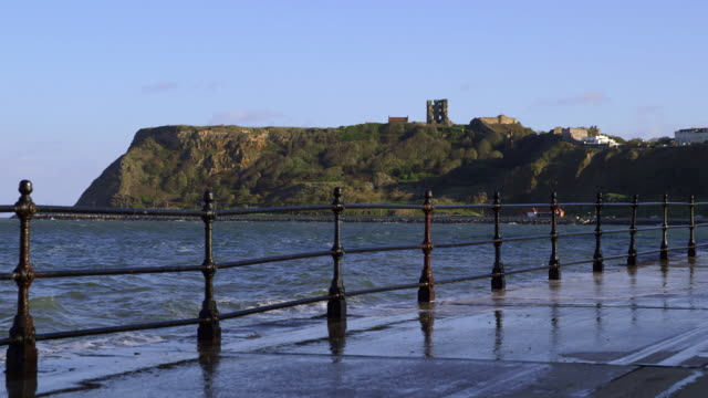 marine drive, cliffs & castle at north bay - scarborough uk stock videos & royalty-free footage