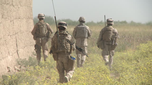 stockvideo's en b-roll-footage met a u.s. marine fire team on patrol walks past a stone wall and toward a poppy field. - afghanistan