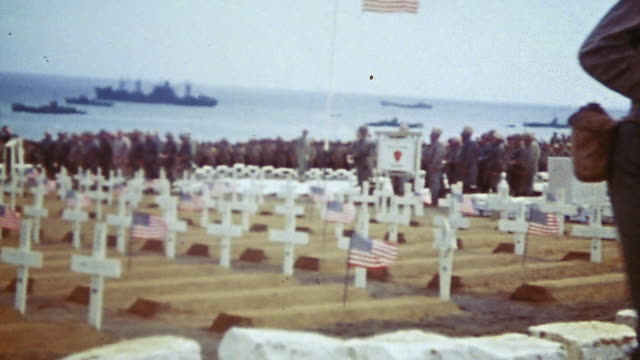 marine firing squad firing volley of shots, bugler playing taps and saluting the fallen soldiers, color guard raising the american flag and saluting... - iwo jima island stock videos & royalty-free footage