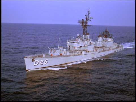AERIAL Marine frigate sailing on ocean / Rio de Janeiro, Brazil
