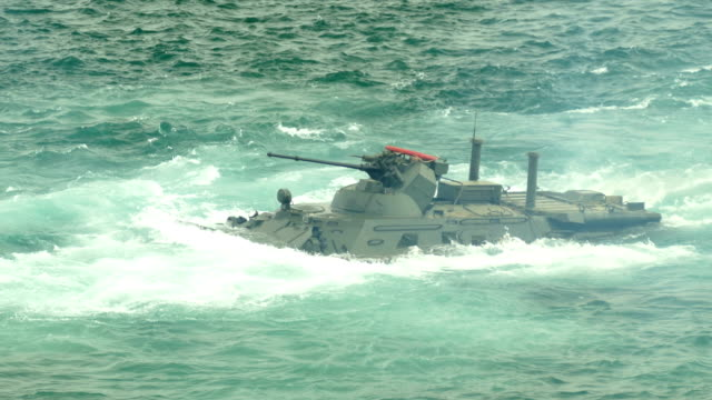 marine infantry fighting vehicle at sea - amphibious vehicle stock videos & royalty-free footage