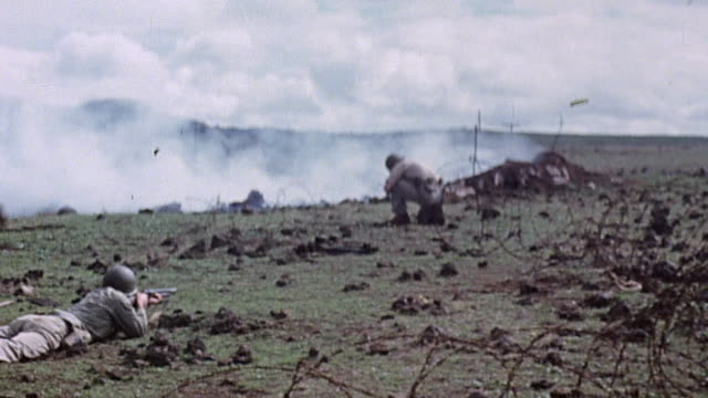 marine infantry using flamethrowers and grenades to destroy buried enemy pillboxes during world war ii pacific campaign / okinawa, japan¬† - world war ii video stock e b–roll
