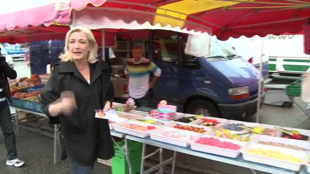 marine le pen leader of the french farright party front national speaking to market traders - national front stock videos and b-roll footage