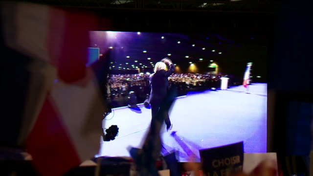 marine le pen speaks at a political rally in the run up to the french presidential election crowd footage - political rally stock videos & royalty-free footage