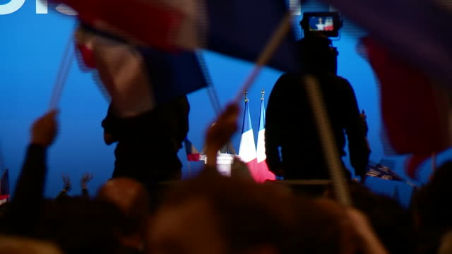 marine le pen speaks on stage at a political rally in the run up to the french presidential election - political rally stock videos & royalty-free footage