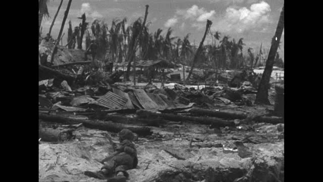 marine lying on beach, blasted palm trees in background, shell exploding in background / two marines walking along, blasted palm trees in background,... - 日本の軍事力点の映像素材/bロール