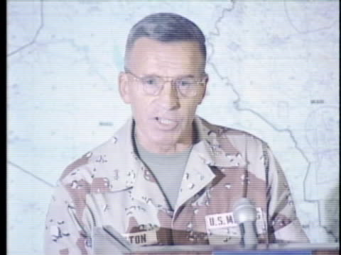 marine major general robert johnston briefs the media about desert storm - (war or terrorism or election or government or illness or news event or speech or politics or politician or conflict or military or extreme weather or business or economy) and not usa video stock e b–roll