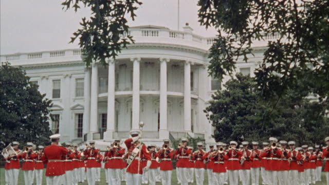 ms marine marching band on lawn of white house / washington d.c., united states - 1960 stock videos & royalty-free footage