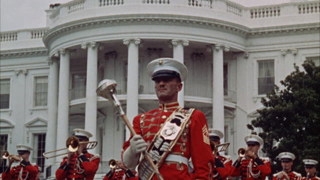 cu marine marching band on lawn of white house / washington d.c., united states - parade stock videos & royalty-free footage