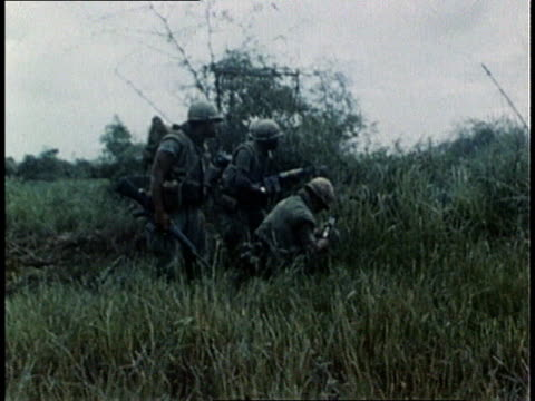 marines advancing in combat / south vietnam - us marine corps stock videos & royalty-free footage