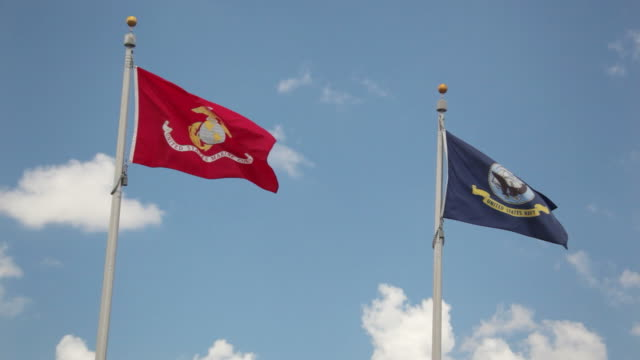 us marines and navy flags - us navy stock videos and b-roll footage