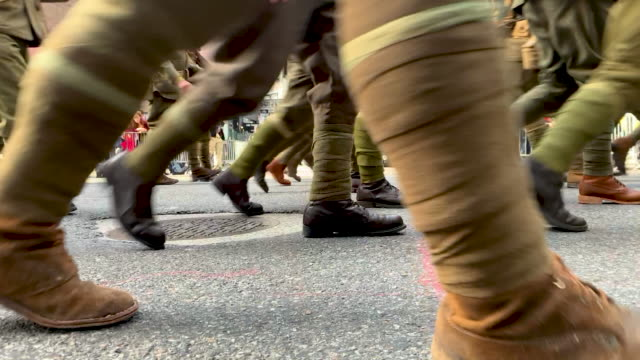 marines and other military groups march in the veterans day parade on november 11, 2019 in new york city. president donald trump offered a tribute to... - veterans day stock videos & royalty-free footage