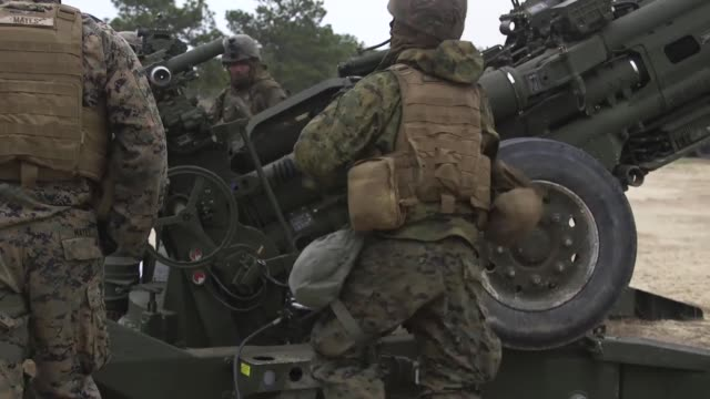 US Marines and Sailors from Battery G 2nd Battalion 10th Marine Regiment 2nd Marine Division conduct their annual Marine Corps Combat Readiness...