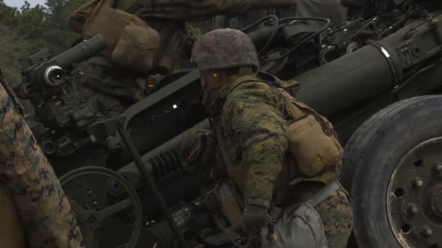 marines and sailors from battery g, 2nd battalion, 10th marine regiment, 2nd marine division , conduct their annual marine corps combat readiness... - howitzer stock videos & royalty-free footage