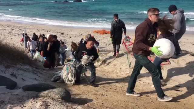 marines and sailors from mcas iwakuni clean up tsunoshima island japan of debris and litter marine wildlife is under threat from the waste and litter... - environmental cleanup stock videos and b-roll footage