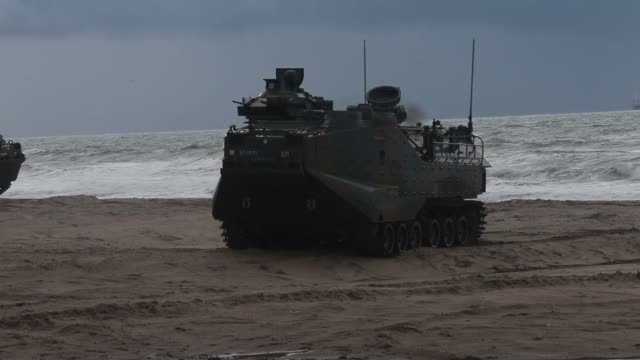 marines and soldiers with japan ground self defense force conduct an amphibious landing exercise at marine corps base camp pendleton, california,... - amphibious vehicle stock videos & royalty-free footage